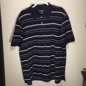 Eddie Bauer XL Polo Shirt Navy Blue White Stripes